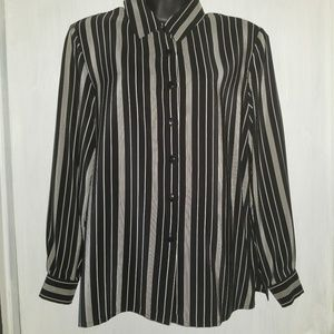 Talbots Silk Button Front Blouse Long Sleeve